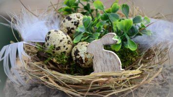 Velikonoční dekorace s vajíčky a zajíčkem
